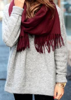 gray / cranberry fall outfit