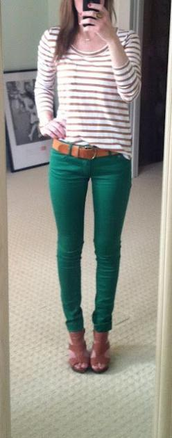 I like the green of the pants -- a nice jewel toned green.  What She Wore 365
