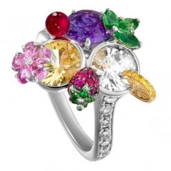 Limelight cocktail ring - Trio kiss inspiration 18-carat white gold ring set with 26 brilliant-cut diamonds, 11 round tsavorites, 3 pear-shaped tsavorites, 3 round center colored sapphires, 5 pear-shaped pink sapphires,12 round yellow diamonds and 27 roun