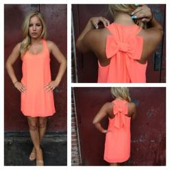 Neon Coral Bow T-Back Dress.. Perfect for my honeymoon on the beach!