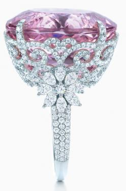 Tiffany and Co kunzite and diamond ring, Tiffany & Co., Tiffany and Company, Tiffany's, pink, diamonds, flowers, floral, kunzite, morganite, pink diamond, engagement ring, cocktail ring, princess jessicasmith.cbunited.com