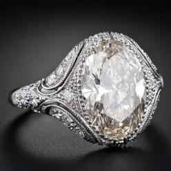 4.44 Carat Oval Diamond Vintage Style Engagement Ring - 10-1-4015 - Lang Antiques