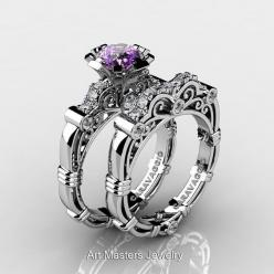Art Masters Caravaggio 14K White Gold 1.0 Ct Amethyst Diamond Engagement Ring Wedding Band Set R623S-14KWGDAM: Diamond Engagement Rings, Wedding Band Sets, Wedding Bands, Masters Caravaggio, White Gold, 1 0 Ct, Gold 1 0