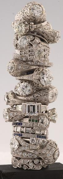 Barker's antique vintage diamond rings.. Gimme.