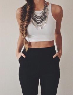 Crop top, leggings, statement necklace: Statement Necklace Outfit, Summer Outfit, White Crop Top, Silver Statement Necklace, Crop Top Outfit, Black And White Outfit