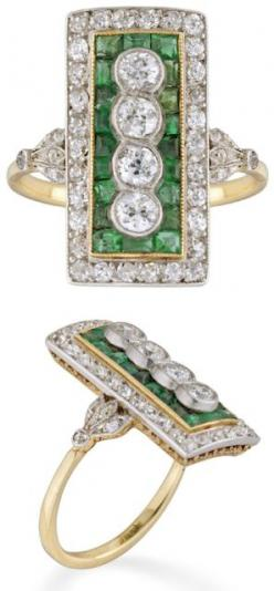 Edwardian emerald and diamond plaque ring, circa 1910. This beauty is millegrain rubover-set vertically with four old brilliant-cut diamonds weighing approximately a total of 0.60 carats. The four diamonds are surrounded by a calibre-cut emerald cluster s