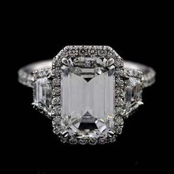 Platinum Micro Pave Cut Down Diamond Engagement Ring by OroSpot, $2,499.00