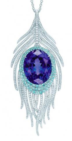 Tiffany & Co., Peacock Pendant with oval tanzanite, cuprian elbaite tourmalines and diamonds.