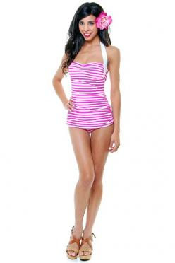 Vintage Inspired 50's Style Pin Up Candy Striped Pink & White Bathing Suit