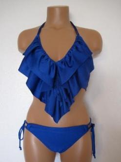 blue ruffle triangle top and blue string bottom: Bathing Suits, Style, Swimsuits, Bikinis, Bathingsuits, Summer, Ruffles