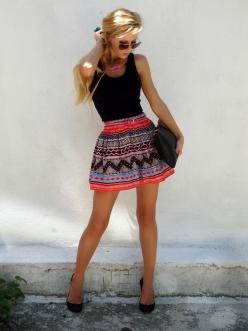 Bold skirt, black tank top: Black Top, Fashion, Summer Outfit, Style, Dream Closet