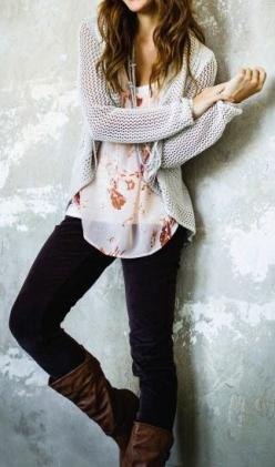 fall look: Floral Tops, Style, Dream Closet, Cardigan, Fall Outfits, Fall Fashion, Fall Winter