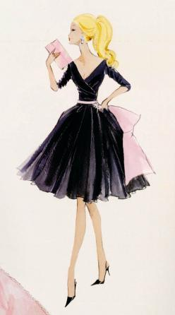 FaShiON⭐ArT: Midnight Mischief, Girl, Fashion Sketches, Barbie Illustration, Vintage Barbie, Drawing, Fashion Illustrations