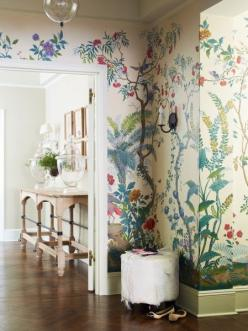 Have you ever considered incorporating a mural into your design features? Perfect for a girl's room or nursery.   Projects | Suzanne McGrath Design: Decor, Interior, Idea, Wall Paper, Wallpapers, Design, Room