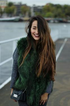 jewel toned faux fur pieces #fall #fashion #theeverygirl: Dark Lipstick Outfit, Dark Green Things, Emerald Green, Fur Vest Outfits, Faux Fur Vests, Dark Lips Outfit, Fur Pieces, Hair Color, Fashion Theeverygirl