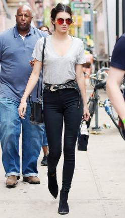 Kendall Jenner pairs her booties with a grey v-neck, high-waisted black jeans, and a black crossbody bag.: Jenner Style, Fashion, Jenners, Street Style, Kendall Jenner, Outfit, Street Styles, Belt, Kendalljenner