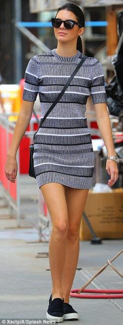 Kendall Jenner: The model paired her mini dress with matching black and white slip-on shoes: Kendal Jenner Style Outfits, Fashion Outfit, Kendall Jenner Outfits, Slip On Vans Outfit, Kendall Jenner Style Outfits, Jenners, Kendall Jenner Dress, Kendalljenn