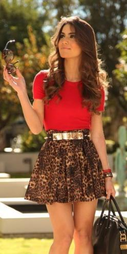 Leopard skirt + Red shirt + Gold accessories: Leopard Print, Fashion, Style, Leopard Skirt, Outfit, Animal Prints