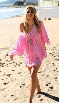 Pretty pink boho cover up, summer fashion trend - For MORE summer looks FOLLOW http://www.pinterest.com/happygolicky/summer-style-jewelry-clothing-swimsuits-accessorie/: Cover Up, Fashion, Hippie, Style, Summer, Beach Coverup, Pink Boho, The Beach