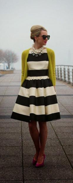 Striped Dress With Sunflower Cardigan: Fashion, Style, Black And White, Cardigan, Outfit, Dresses, Kate Spade