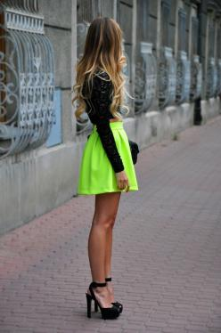 Style on the street: Five trends you are going to see everywhere this Spring/Summer 2013: Fashion, Neon Skirt, Skirts, Style, Dream Closet, Dress, Outfit, Hair