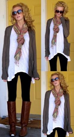substitue black jeans for the leggings & add infinity scarf and you've got it: Falloutfit, Style, Dream Closet, Fall Outfits, Fall Fashion, Brown Boots, Scarf, Fall Winter