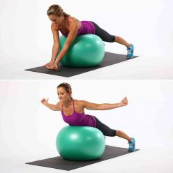 Targeting key muscles with this move helps to strengthen your back while improving your posture.  Lay your belly on a ball and find stability by spreading your legs wide and planting your toes on the floor. Bring your arms in front of your ball, make fist