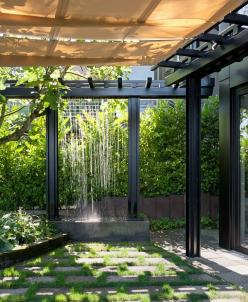 Use rain water to create a waterfall feature in the garden: Idea, Water Features, Outdoor Shower, Pergola, Castanes Architects, Landscape, Outdoor Spaces, Garden, Design