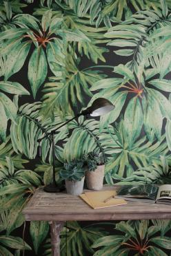 #walldecor #decorating cladding, shelves, art, mural, wallpapers, faux finish, modello, wall units, interior design, paint, texture, panelling, colour wall: Banana Leaves, Wall Murals, Green Wallpaper, Jungle Murals
