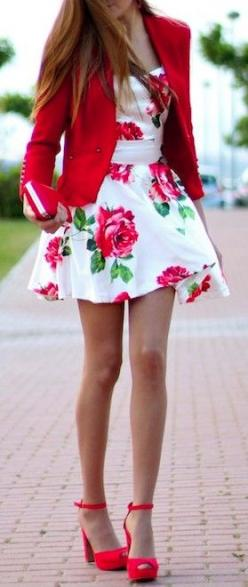 What a great look! The bold print of the dress anchored by the white background, with the perfect jacket and shoes to complete the look. You've gotta love being the center of attention if you wear this, however, as that's exactly what you'll b