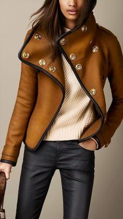 Burberry Leather Jacket. #fall: Style, Burberry Leather, Outfit, Jackets, Leather Trim