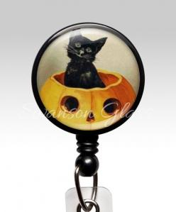 Halloween Black Cat Name Badge: Holder Van, Badge Reel, Names, Nurse Badge, Name Badges, Id Badge Holders, Badge Clips, Black Cat