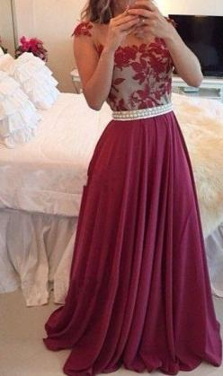 Sheer Lace Burgundy Chiffon Prom Dresses Capped Sleeves Pearls Belt Open Back Modest Formal Long Evening Gowns,it is from =>@ http://diydressonline.storenvy.com/products/11878758-a-line-embroidery-bodice-burgundy-chiffon-skirt-long-prom-dresses-2015-fo