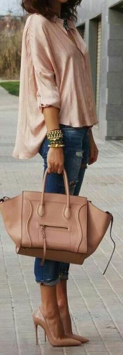 60 Haute New Looks For Spring 2014 - Style Estate -: Outfits, Fashion, Nude, Purse, Street Style, Christmas Gift, Bags