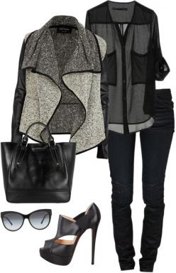 black sheer blouse // gray marled jacket // black pants // black platforms: Jacket, Fashion, Black Outfits, Style, All Black, Fall Outfit, Edgy Work Outfit, Fall Winter, Edgy Black Outfit