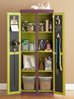 Create a DIY Pet Armoire or Cabinet  This idea is great for small spaces or if you're short on space. Re-purpose an old armoire, cabinet or entertainment unit by treating it to some colorful new paint! I love the idea of using chalkboard paint on the insi