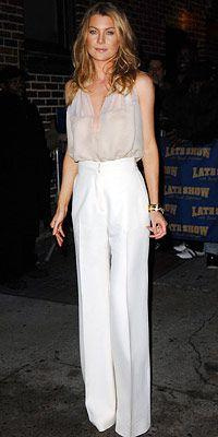 ellen pompeo in a j mendel low chiffon top and white pants: Ellen Pompeo Style, Ellen Pompeo Sexy, Nude, Ellen Pompeo Hair, Chiffon Top, Ellen Pompeo Dress, Clothes, Outfit, High Waist Trouser