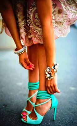 Gorgeous mint high heel sandals: Fashion, Style, Color, Outfit, Turquoise Heel, High Heels, Shoes Shoes