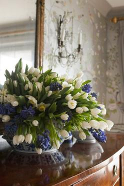 I have tons of antique Chinese vases & urns from when I liked in Singapore ~ This is good idea for how to use them: Blue Hyacinth, Beautiful, Flower Arrangements, White Tulips, Floral Arrangements, Flowers, Blue And White