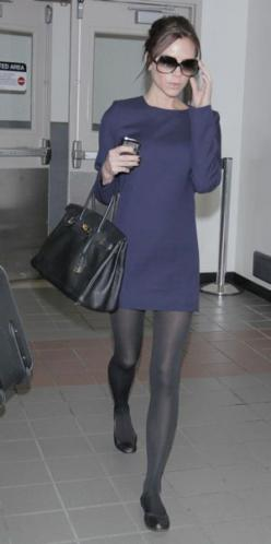 I like the navy and the grey and I personally don't think it's too heavy of a look. I also like the black flats with it.: Dress With Flat, Fashion, Style, Grey Tights, Navy Dress Outfit, Shift Dresses, Black Flats, Victoria Beckham Dress
