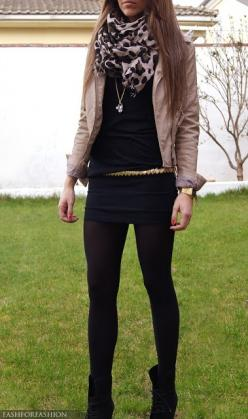I want a leather jacket that color! Perfect to wear with brown or black.: Fashion, Dream Closet, Style Inspiration, Leopard Scarf, Fall Outfits, Leather Jackets, Black Tights, Fall Winter
