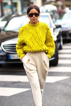 Miroslava Duma in bright yellow, oversized, cabled sweater and pleaded pants. Very chic! Paris Fashion Week, Street style.: Sweaters, Paris Fashion Week, Street Style, Outfit, Street Styles, Miroslavaduma, Miroslava Duma, Fall Winter