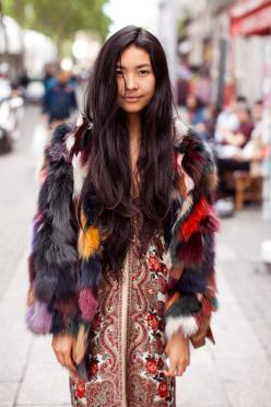 multicolor: Fur Coats, Jacket, Fashion, Style Inspiration, Color, Street Style, Street Styles, Boho, Hair