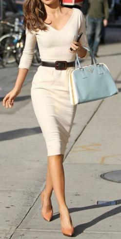 Pencil dress love this so much so classy but with my pale skin I think it would wash me out: Miranda Kerr, Fashion, Style, Belt, Work Outfit, Pencil Dresses
