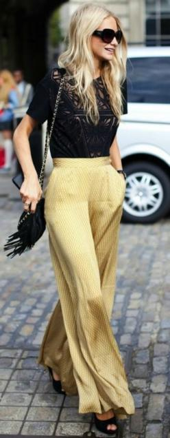 Poppy Delevigne. Love these silky pants!: Fashion, Inspiration, Palazzo Pants, Poppy Delevigne, Street Style, Outfit, Street Styles, Wide Legs