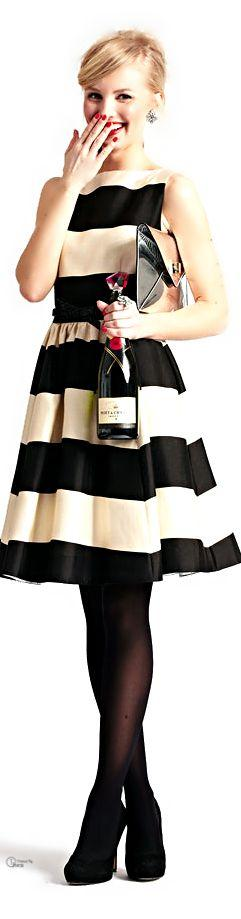 Striped bridesmaid dresses, Inspiration for Mobella Events, www.mobellaevents.com #wedding #katespade #dress: Fashion, Style, Black And White, Flare Dress, Stands, Kate Spade