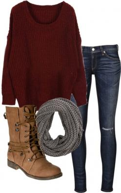 The sweater, scarf, jeans... And maybe the shoes: Falloutfit, Combat Boot, Style, Dream Closet, Fall Outfits, Winter Outfits, Fall Fashion, Fall Clothe, Fall Winter
