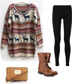 Tiens Julie t'as déjà un chandail semblable du Pérou et chu sur t'as des leggings il ne te manquera que la paire de bottes!! Confy: Ugly Sweater, Style, Winter Outfit, Fall Outfits, Moose Sweater, Fall Winter, Winter Clothes