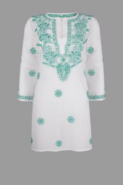White Beach Kaftan, Beach Cover Up with Turquoise Hand Embroidery on Etsy, $73.20: Beach Outfit, Beach Covers, Kaftans Beach, Beach Cover Ups, White Beach Kaftan