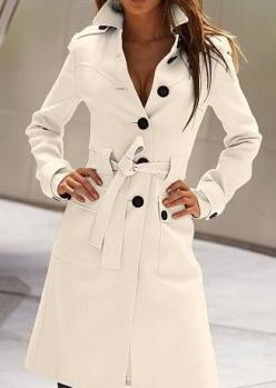 White Long Sleeve Drawstring Waist Back Buttons Coat - love the trench style: Women S, Fashion, Style, Collar, Jackets, Trench Coats